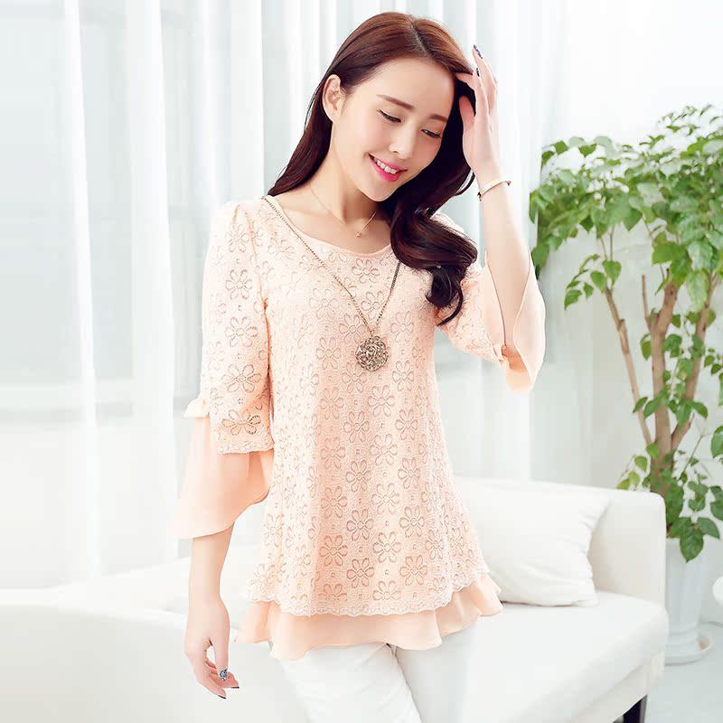 2014春装新款蕾丝雪纺衫 韩版七分长袖女士修身打底上衣大码显瘦