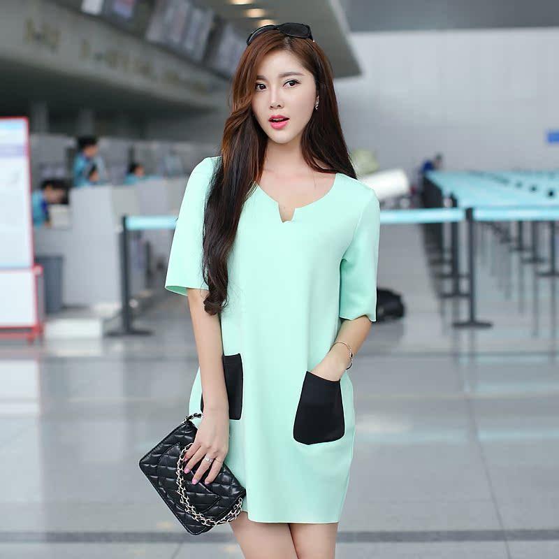 梵娅洛诗新款女装V领精品通勤韩版口袋短裙短袖连衣裙 欧洲站