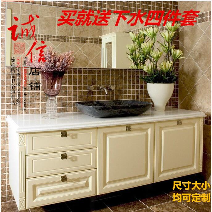 欧式浴室柜现代大理石简欧洗手盆橡木落地卫浴柜台上