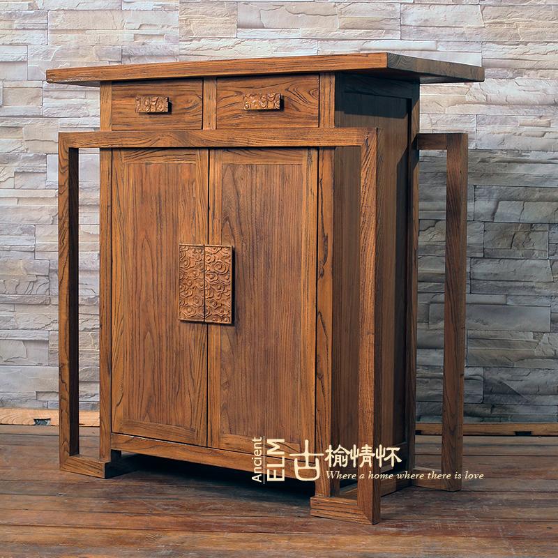 现代中式榆木鞋柜简易储藏抽屉田园玄关柜实木收纳对