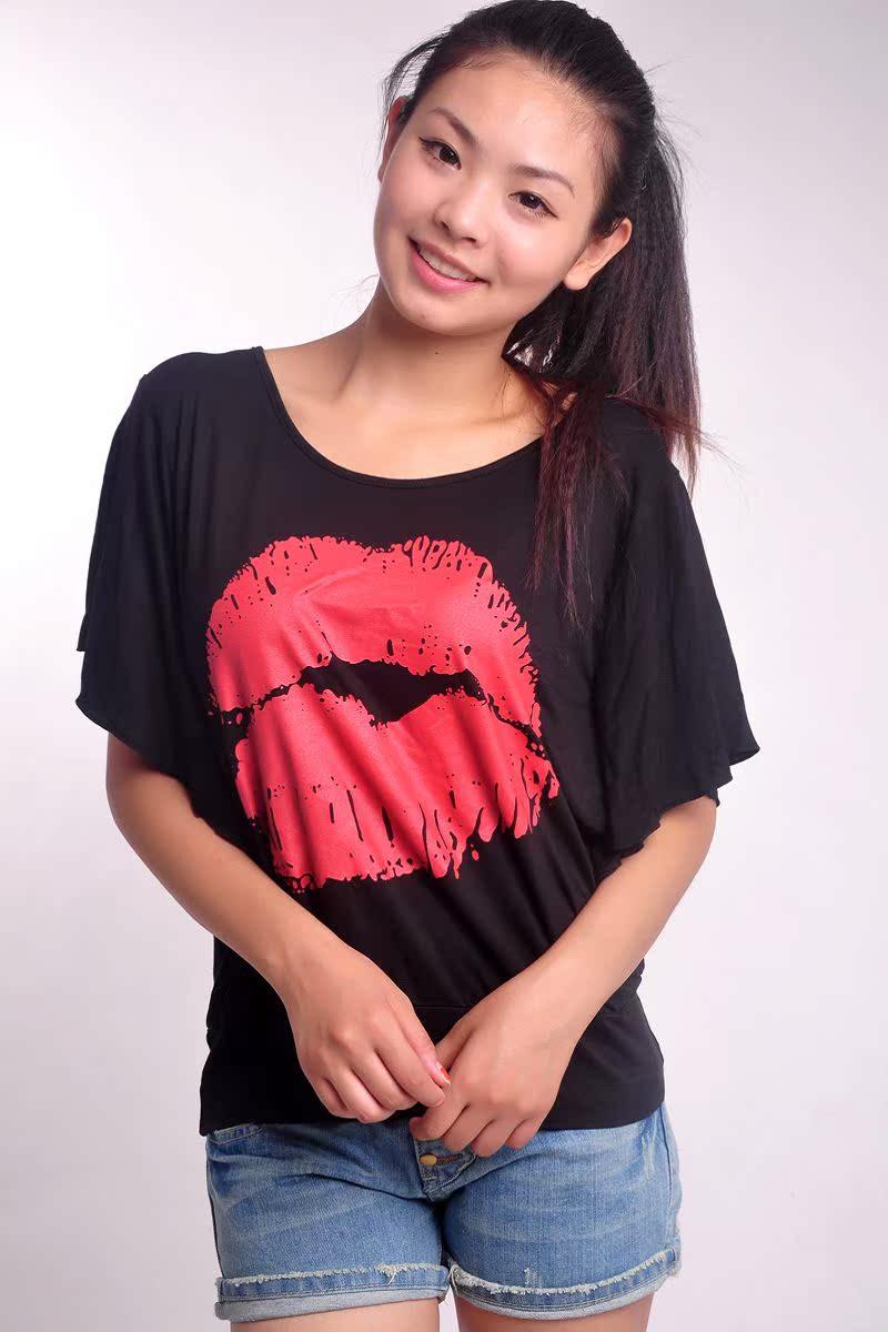 2013新款夏装韩版短袖潮女装上衣服胖MM大码宽松t恤女白色蝙蝠衫