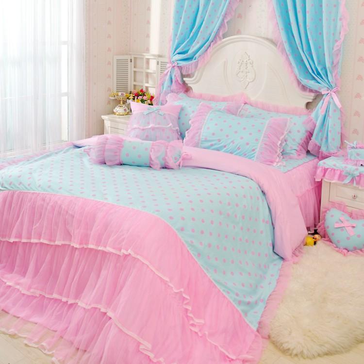 韩版式纯全棉公主床裙罩田园女童蕾丝三四件套床上用品被单套窗帘