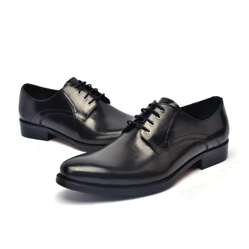 正品头层牛皮真皮英伦时尚商务尖头潮男士系带结婚皮鞋 正装男鞋
