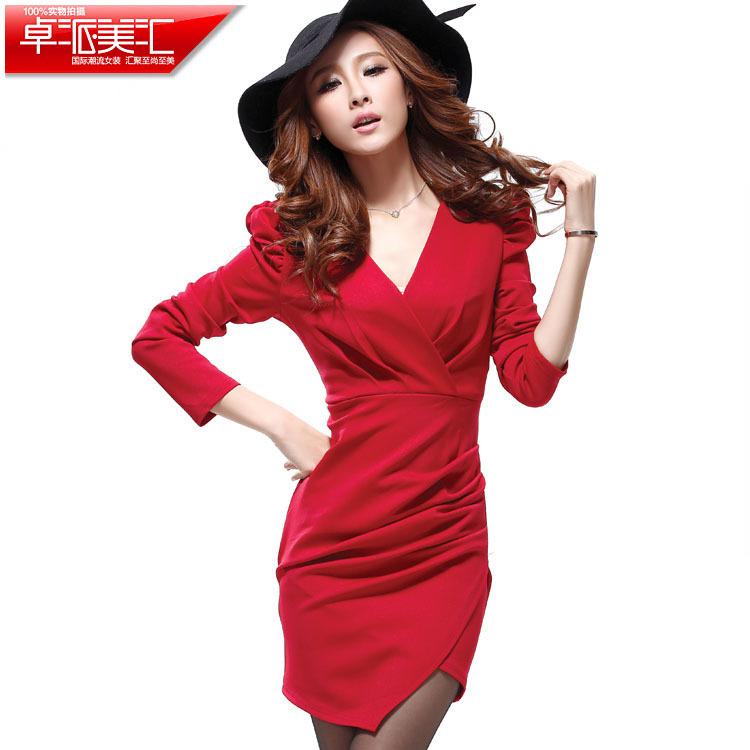 秋冬季新品质女装韩版长袖修身显瘦打底加厚保暖连衣裙子爆款特价