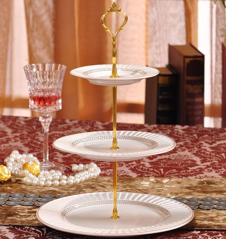 欧式陶瓷三层水果盘蛋糕架蛋糕盘下午茶点心盘时尚创意生日婚礼物