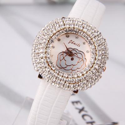 石英女式手表白色皮带表带 花图案 气质女表 潮流清新日韩风女表
