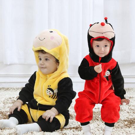 春秋婴儿衣服 动物哈衣 宝宝单层连身衣 蜜蜂瓢虫造型爬服