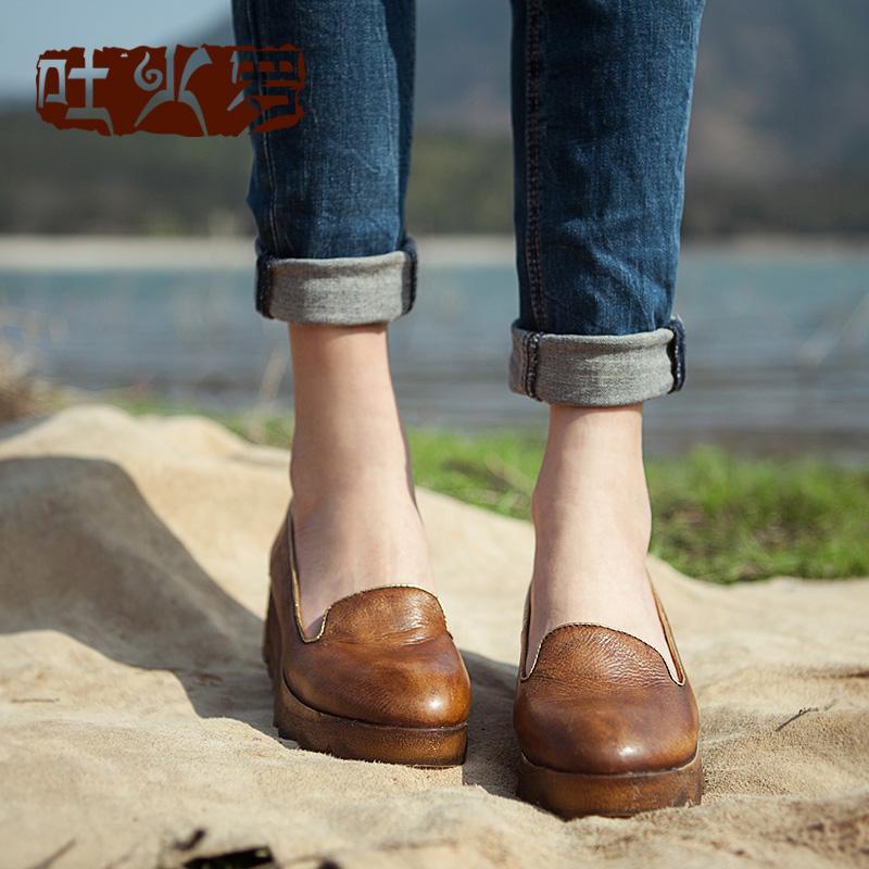吐火罗春季新款真皮单鞋复古素人风田园森女系浅口坡跟个性女鞋