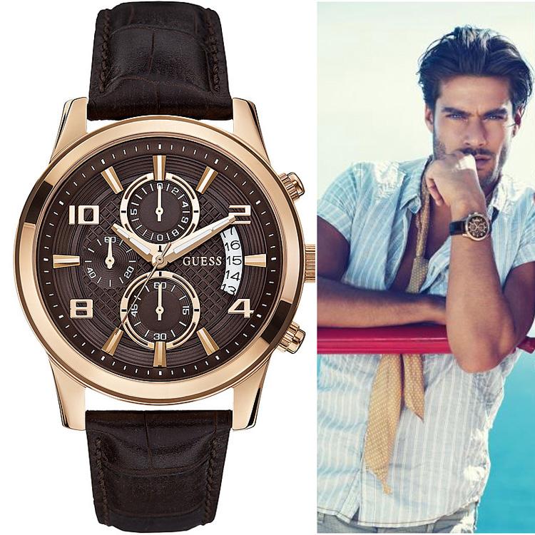 GUESS手表 盖尔斯男表 真皮皮带男士表 时装表 石英表 W0076G4
