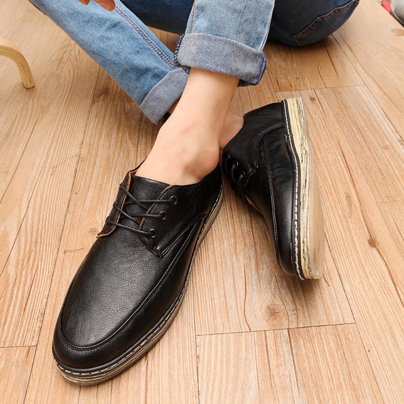秋冬林弯弯潮鞋韩版男鞋男士休闲鞋英伦潮流板鞋男大头鞋增高皮鞋