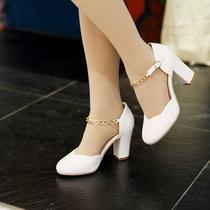 [最后1天] 2015春夏韩版新款圆头浅口女鞋一字搭扣粗跟中跟单鞋包根公主鞋