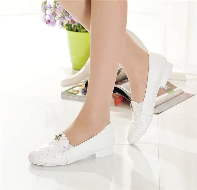 日系韩版学院风小白鞋克罗心真皮平跟单鞋小香菱格平底女鞋欧美风