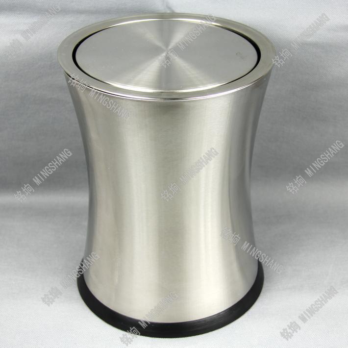 铭垧不锈钢腰形摇盖式垃圾桶卫生间客厅厨房家用纸篓创意时尚翻盖