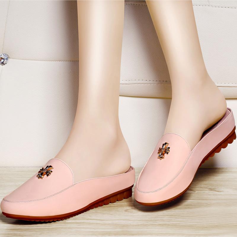 古奇天伦夏季韩版半拖鞋 沙滩平底跟女凉鞋 时尚休闲漆皮包头单鞋