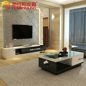现代电视柜套装茶几组合客厅成套大理石柜烤漆欧式