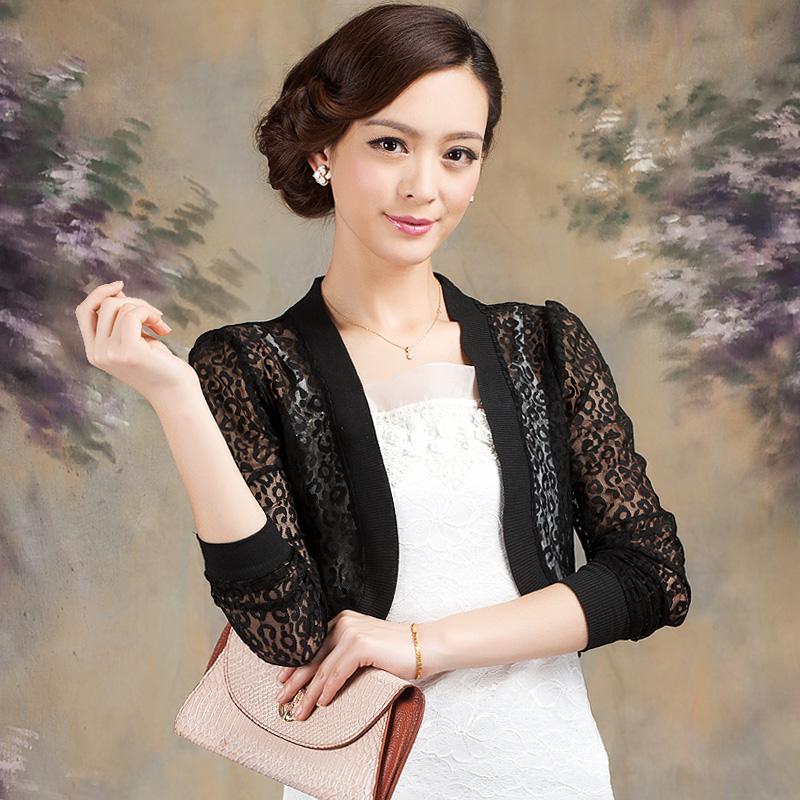 2014夏装新款女装时尚百搭修身长袖短款蕾丝小披肩坎肩开衫外搭薄