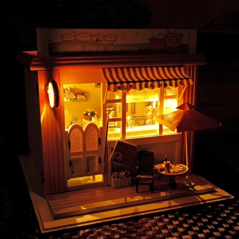 星港饮奶茶店 创意咖啡手工模型玩具 生日礼物木拼装国产DIY小屋
