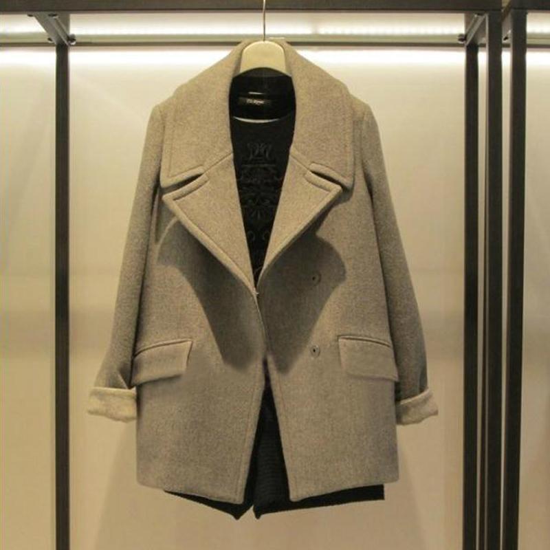 2014新款秋冬女装中长款大翻领加棉加厚羊毛呢外套呢子大衣女092