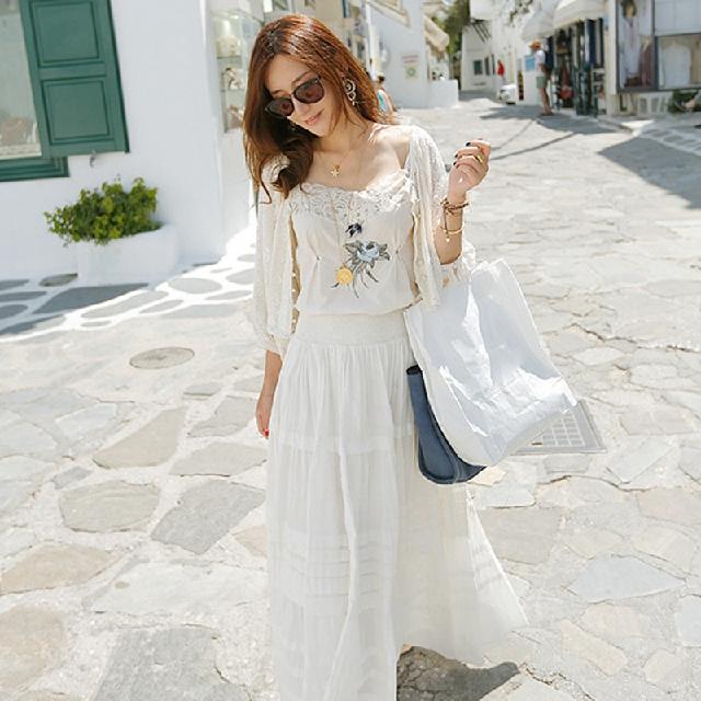 彭曼2014呛口小辣椒夏装新款波西米亚长裙仙女白裙连衣裙两件套