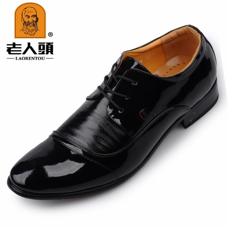 老人头春季男士商务正装皮鞋婚鞋黑系带皮鞋真皮漆皮男鞋
