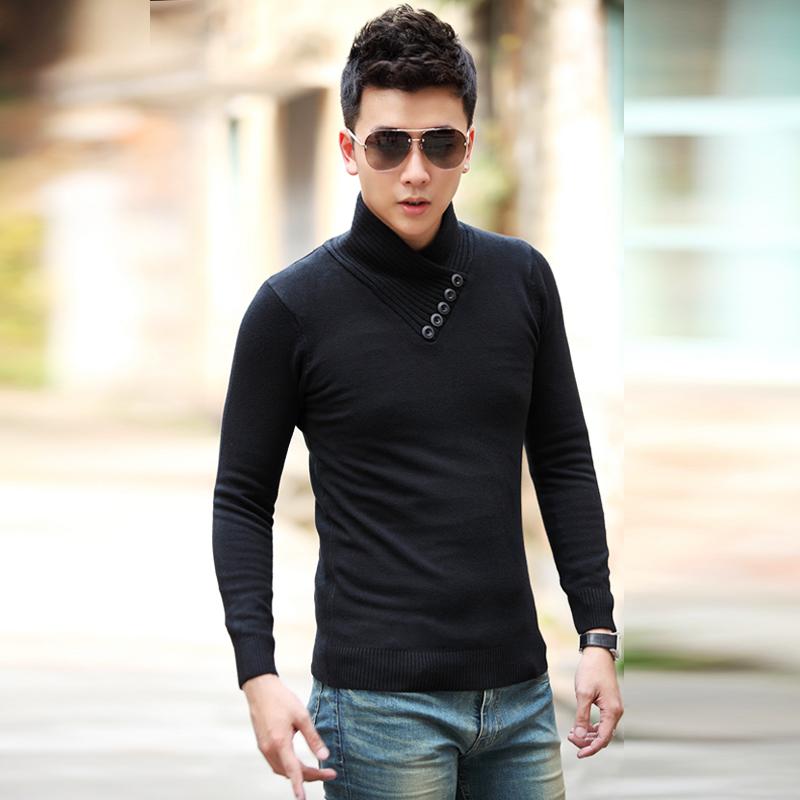 包邮秋冬男士毛衣韩版修身套头男装针织衫打底衫男高领毛衣厚线衫