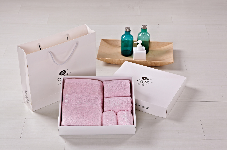 恒美家纺竹纤维高档毛巾礼盒1浴巾2毛巾2方巾特价销售