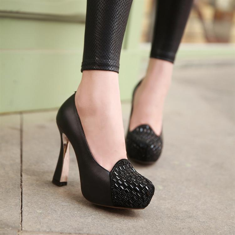 春季新款高跟鞋防水台水钻单鞋女鞋子 粗跟优雅气质里外全皮鞋子