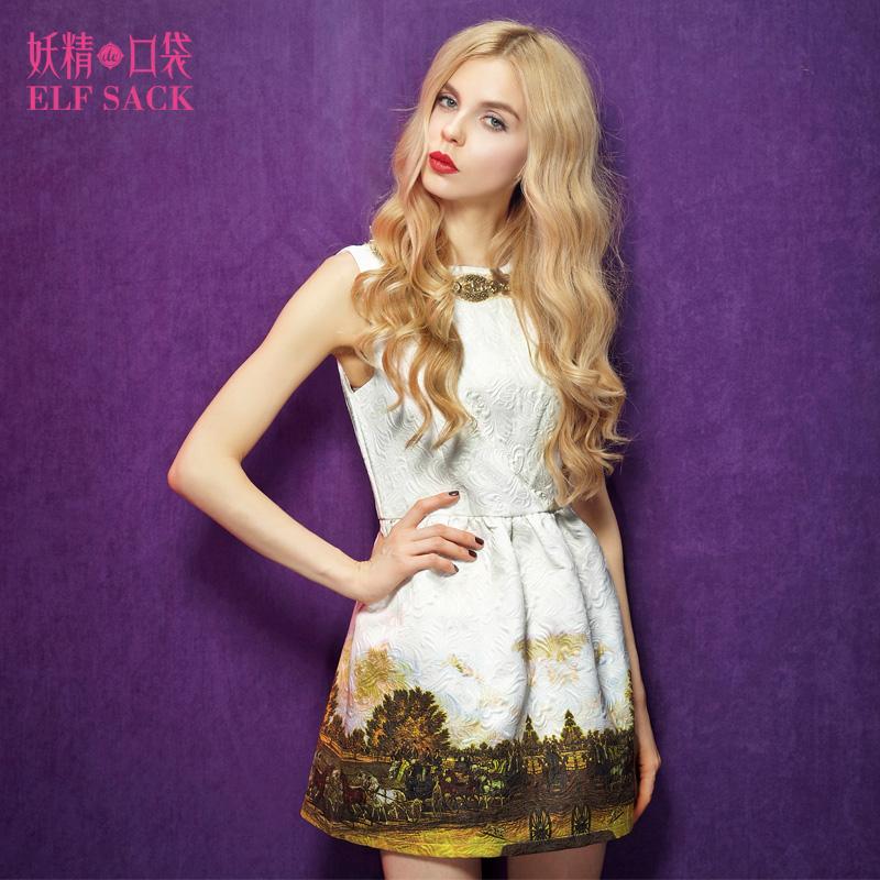 妖精的口袋 珊瑚时光春装华美钉珠宫廷印花连衣裙 预