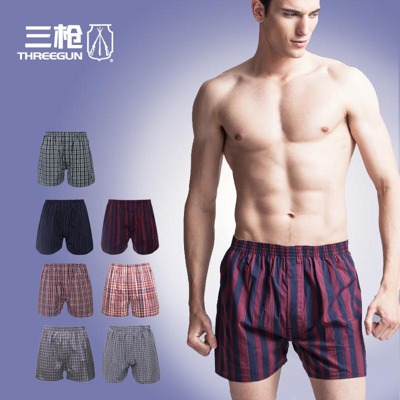 3件包邮 三枪阿罗裤 男士短裤男式宽松平角内裤纯棉睡裤50174B2