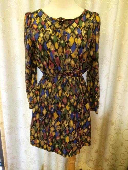 复古 几何图形 修身显瘦 女装连衣裙 衣服的弹性非常大