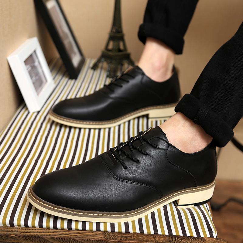林弯弯英伦潮鞋男士复古婚鞋休闲雕花尖头男皮鞋韩版黑色休闲皮鞋