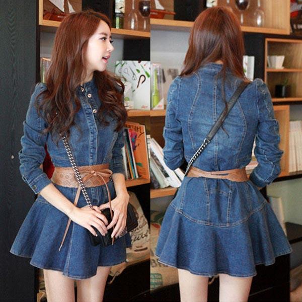 韩版女装修身牛仔连衣裙长袖翻领显瘦连体牛仔衣牛仔连体时尚裙子