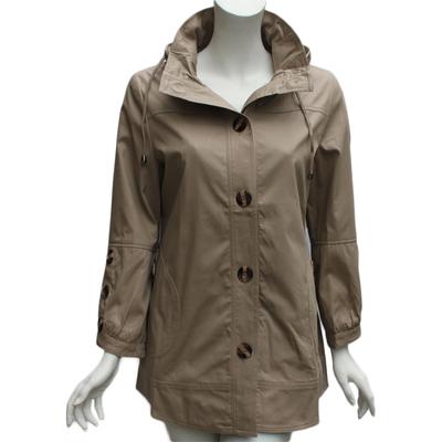 2015秋装新品上衣中老年女装正品长款外套连帽立领纯棉风衣妈妈装