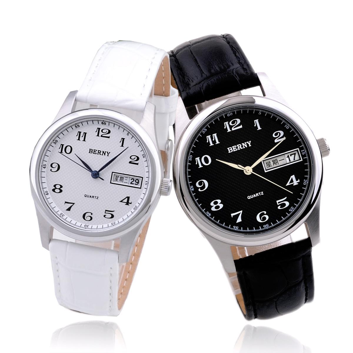 正品伯尼 双日历情侣表皮带对表 情侣手表韩版一对价新款男女手表