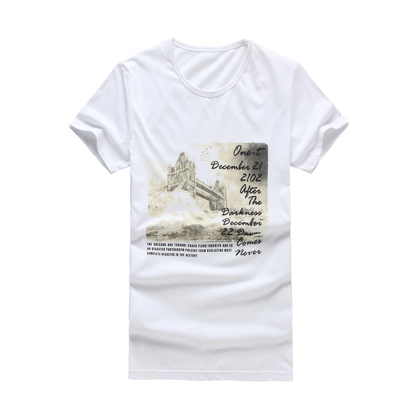 伯克思白色卡通字母韩版潮男士上装时尚创意印花加大短袖半袖T恤