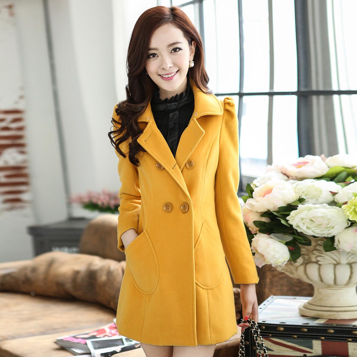 毛呢外套女大衣秋冬中长款2014新款女装气质韩版修身羊毛呢子外套