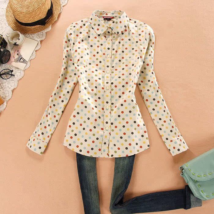 14新款女士小清新正品休闲春装彩色波点长袖衬衫韩版女士长袖衬衫