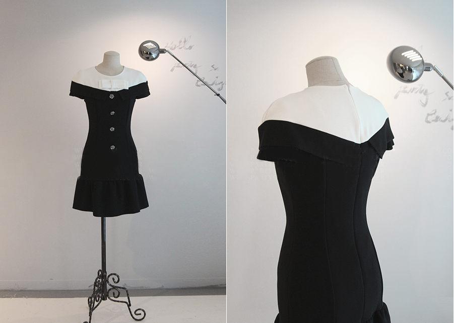 【韩国go】2014秋新款打底女装连衣裙 百搭气质显瘦黑白撞色收腰