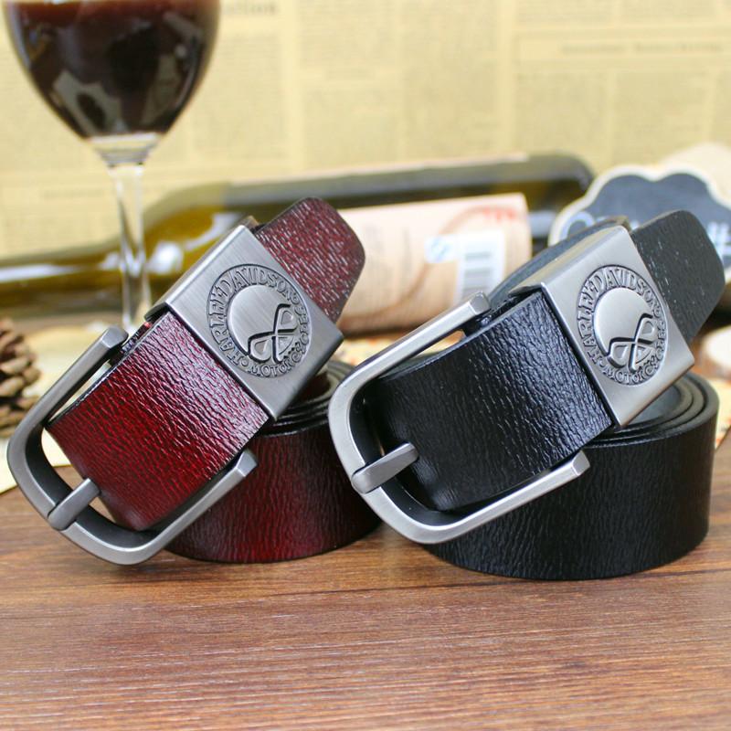 男士针扣皮带时尚单层纯牛皮个性黑色腰带皮带DLW16
