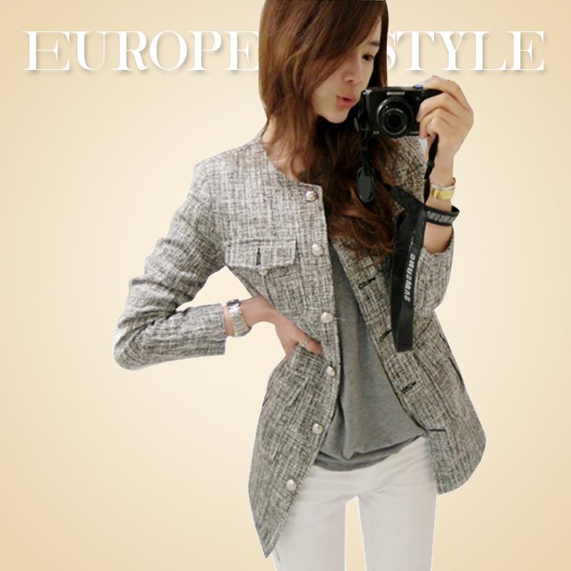 【韩国go】2014冬新款芝麻呢女装外套 百搭气质花呢西装 女长袖