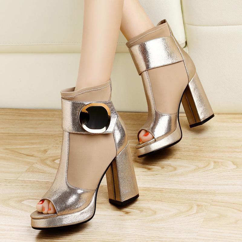 2014欧洲站新款女式鞋鱼嘴单鞋防水台高跟鞋性感网纱厚底粗跟女鞋