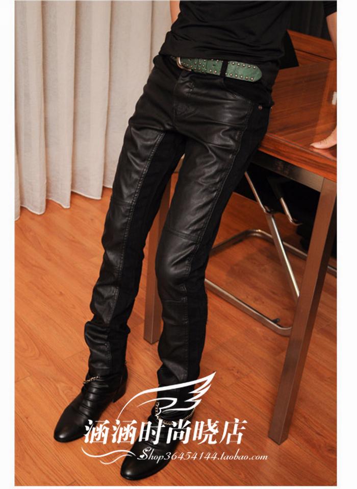 新款春装男士拼接皮裤 韩版休闲 紧身机车长裤 非主流 男装 裤子