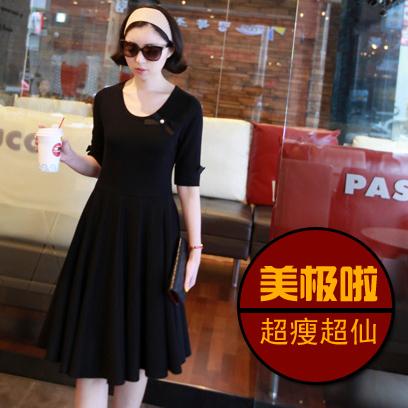 早秋新款套装韩版大摆裙 修身显瘦纯色气质打底连衣裙短袖长裙