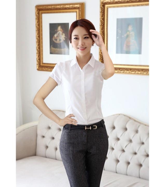 白衬衫包邮女夏装新款2014小清新修身韩版职业女士大码短袖衬衫女