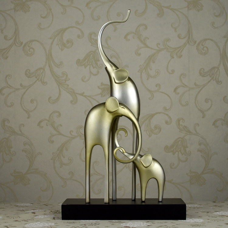 欧式创意抽象三连象艺术品招财风水摆件装饰品客厅柜