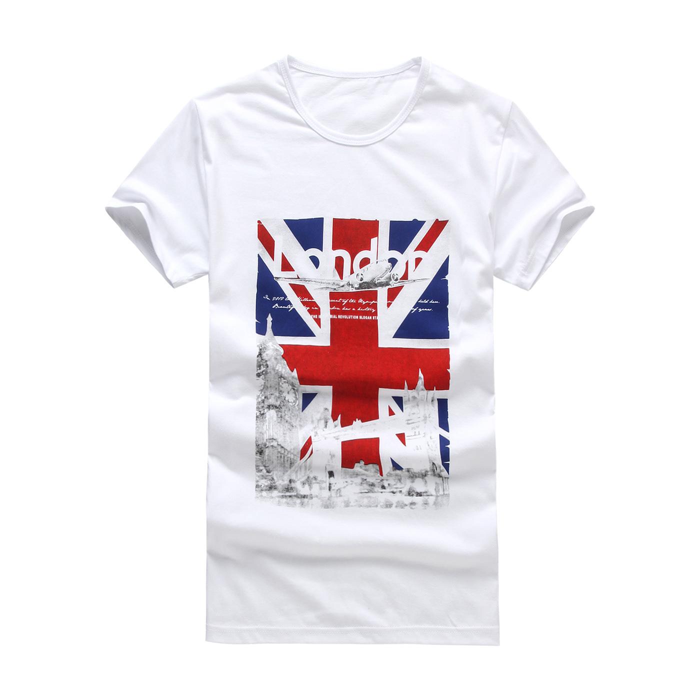 伯克思 韩版新款短袖T恤男装宽松加肥大码男士印花半袖t恤潮夏装