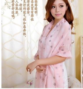 特价韩国新款 时尚女士超长雪花绒雪纺丝巾披肩保暖围巾两用 超长