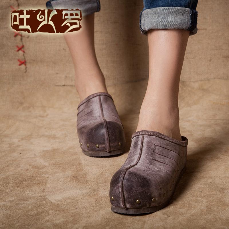 吐火罗原创新款复古民族素人风手工牛皮凉鞋真皮防水台坡跟凉拖鞋