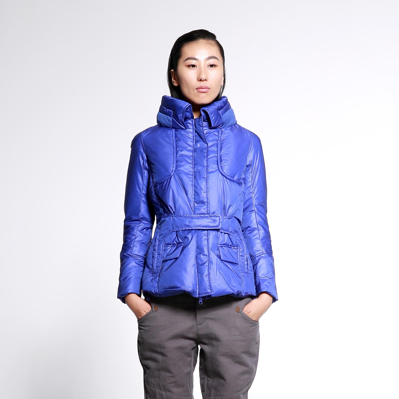 2014女性冬款加厚冬季保暖短款修身腰带羽绒服5A87815