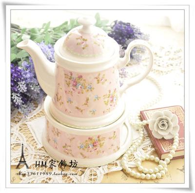 玻璃陶瓷过滤芯飘逸杯茶具田园玫瑰花泡茶壶小碎花茶杯套装